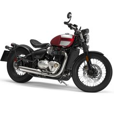 New colour scheme for the 2018 Bonneville Bobber - Cranberry Red with Frozen Silver