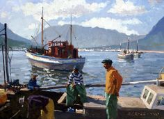 Roelof Rossouw South African Painter. African Paintings, Boat Art, South African Artists, Landscape Paintings, Landscapes, Paintings I Love, Art For Art Sake, Lake View, Painting Techniques