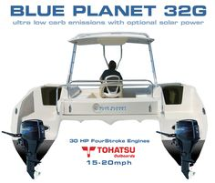 Blue Planet 32G - The Four Stroke, Gas Outboard, Eco Power Cat - Blue Planet Catamarans - Setting the Environmental Standard
