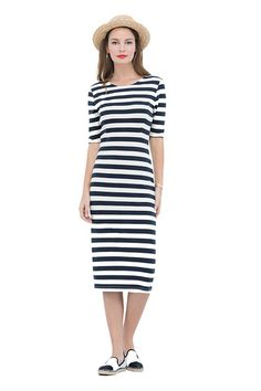 Valerie stripes dress | Shop it at https://sophiestone.nl/collections/eerlijke-kleding/products/miss-green-valerie-jurk-strepen