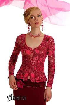 Free-form crochet blouse. Note to self what a great project, love the shape