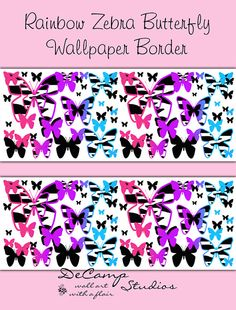 PURPLE FLORAL BORDER Decals Wall Art Teen Girl Room Stickers Decor Abstract  Flowers Modern Art Wallpaper Border Kids Bedroom Decorations | Floral, ...