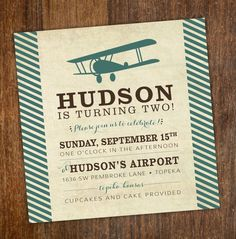 Vintage first birthday party invitation airplane time flies vintage airplane boys birthday party invitation turquoise teal brown stripes filmwisefo