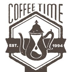 A one-of-a-kind, vintage-style logo for a Portland coffee shop featuring a clever illustration based on the shop's name and decor (hourglasses being a major theme).