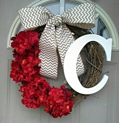 Love's in the air...  hydrangea wreath, Front Door Wreaths, Spring Wreaths, wreaths, Door Wreaths, wreaths, Brand New Day Designs, monogram