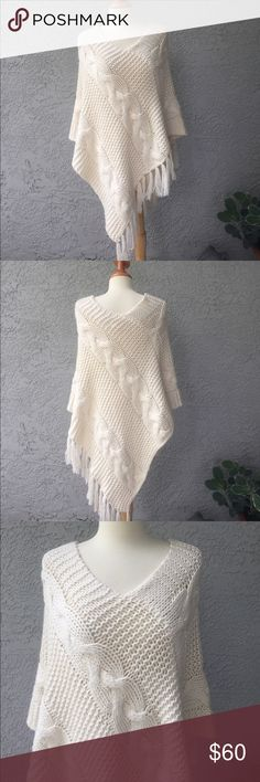 Joie Ivory Cotton & Cashmere Poncho One Size Ivory 75% cotton and 25% cashmere poncho from joie.  One size fits all.  Very soft and lightly worn.  Ivory colored thick cable knit. Joie Jackets & Coats Capes