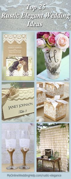 Some good ideas and items for a rustic-style wedding with a little bit more sophisticated look. #MyOnlineWeddingHelp