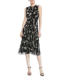 494d0c2e9a2 B4AVL Jason Wu Sleeveless Floral-Print Pleated-Skirt Chiffon Midi Cocktail  Dress Stitch Fix