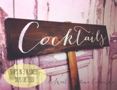 Cocktails Wedding Sign Cocktail Hour Wedding by SweetNCCollective, $25.00