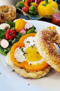 Give your eggs a garden-fresh look by cracking them into a fresh pepper ring and frying them up for a colorful breakfast feast. Recipe Of The Day, Bagel, Fries, Brunch, Eggs, Yummy Food, Stuffed Peppers, Colorful, Breakfast