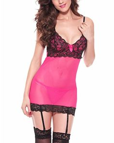 YMING Women Transparent Lace Babydolls Sexy Sleepwear Red Chemises and G-String -- See this great product.