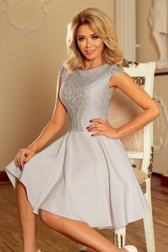 MARTA dress with lace - light grey. The lace pattern may vary.Dress MARTA - light greyThe dimensions are measured on a flat - without stretching the material (+/- 2 cm)The woman in the photo is tall. Strapless Party Dress, Evening Dresses, Formal Dresses, Modern Outfits, Flare Dress, Homecoming Dresses, Beautiful Dresses, Pants For Women