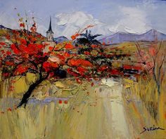 Landscape painting by French Artist Jean Paul Surin Abstract Landscape, Landscape Paintings, Mountain Paintings, French Artists, Painting Inspiration, Art Images, Creative Art, Amazing Art, Thing 1