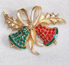 Fabulous CHRISTMAS BELLS Signed Vintage PELL Red & Green Rhinestone Pin Brooch
