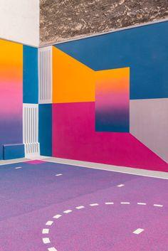 Colourful Paris basketball court by Pigalle Duperré