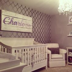 A DIY stenciled nursery accent wall using the Rabat Allover pattern. http://www.cuttingedgestencils.com/moroccan-stencil-pattern-3.html