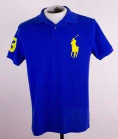 Polo Ralph Lauren Mens Sz M Custom Fit Blue Large Pony Logo Polo Rugby Shirt…