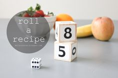 delia creates: Kids Create: Roll a Recipe. math practice with fruit salad and trail mix Kuek FUN! Outdoor Activities For Kids, Fun Snacks For Kids, Fun Activities, Kids Meals, Mason Jar Lids, Making Life Easier, Preschool At Home, Cooking With Kids, Kids Learning