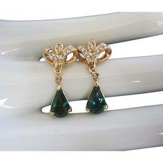 Vintage Emerald Green Rhinestone Pierced Earrings