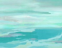 Turquoise and Gray, beach landscape abstract fine art print, calming sea art, aqua blue ocean scene, sea art decor, cloudy ocean artwork
