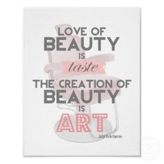 hair & makeup quotes | Beauty is Art Retro Quote Stylist Salon Print by TheBeautySaloon