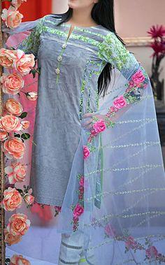 Buy Dark Grey Embroidered Cotton Lawn Dress by Kalyan 2016