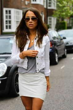 White jeans jacket, grey T and white skirt