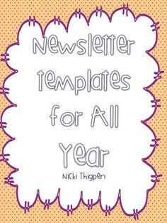 Set of editable templates for newsletters Class Newsletter, Newsletter Template Free, Newsletter Ideas, Classroom Organisation, Teacher Organization, Classroom Ideas, Classroom Management, Organizing, Teacher Must Haves