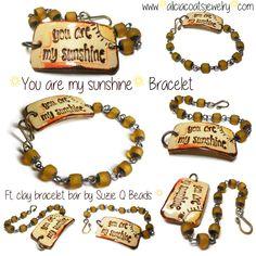 SOLD / You are my Sunshine Bracelet ft. clay bracelet bar by Suzie Q Beads. You Are My Sunshine, Wax, Pendants, Coats, Bracelets, Leather, Jewelry, Bangles, Jewellery Making