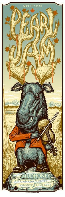 Pearl Jam poster- i like this one because it used the mose and i love animals. one thing i like its that they used was the antlers for the name, the antlers are huge which shows respect in the animal kingdom. Rock Posters, Band Posters, Concert Posters, Kunst Poster, Poster S, Poster Prints, Cover Art, Pearl Jam Posters, Illustration Photo