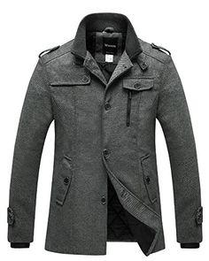 e592efc5312 Best Seller Wantdo Men s Wool Blend Pea Coat Single Breasted Thicken Warm  Military Peacoat Jacket online