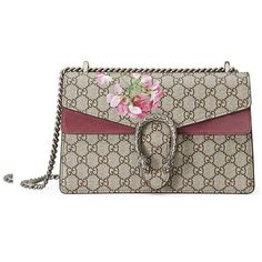Gucci Dionysus Geranium-Print Shoulder Bag ($2,300) ❤ liked on Polyvore featuring bags, handbags, shoulder bags, apparel & accessories, multi, brown shoulder bag, gucci purses, gucci, gucci shoulder bag and flap handbags