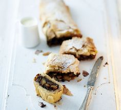 Pear, chocolate & marzipan strudel - Prepare ahead and freeze this rich filo pastry pud, then cook from frozen for the perfect fuss-free seasonal dessert Pear Recipes, Pastry Recipes, Sweet Recipes, Cooking Recipes, Vegan Desserts, Dessert Recipes, Hot Desserts, Dessert Ideas, Bbc Good Food Recipes
