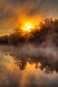 Sunrise on Echo Lake in Fayette (by Greg from Maine)  Echo Lake, when the air is crisp and a thick morning mist covers the landscape. Fayette, Maine, part of Kennebec County in the southwestern part of the State