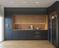 Warm Hues Kitchen Black Cabinetry Warm Wood Inlet Visualizer: Au0026L Interior  Design