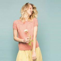 Flora Topp pattern by Sandnes Design Summer Knitting, Top P, Flora, Short Sleeve Dresses, Pattern, Arrow Keys, Close Image, Knits, Website