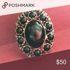 """💠 Fabulous Vintage Ring 💠 I Almost Kept This For Myself  Fabulous Find  Brass Toned Adjustable Ring  This Has To Be Early 1900s At Least  Beautiful Onyx Color """"Beads""""  Makes Up An Exquisite Design  The Band Details Are Amazing   I Can't Even Imagine What Went Into Making This  Your Friends Will Be More Than Jealous!  Your Not Just Buying A Ring  This Is A Historical Piece Of Art  I Do See A Slight """"Peel"""" On The Center Stone  Only Noticeable Upon Close Inspection  Ring Is Still Fantastic…"""