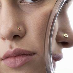14k solid gold nose stud with enamel 🌷