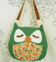 Wendy the Owl Applique Canvas Tote Purse Handbag Shoulder bag