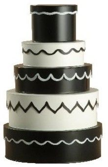 Black and White Hat Box Set $250 * Price not verified There is just something fabulously Alice in Wonderland meets Auntie Mame about these whimsical hat boxes. After all, storage doesn't have to be dreary! — Becky Harris Specifications Sold By Stray Dog Designs | Visit Store  Category Decorative Boxes  Style Eclectic