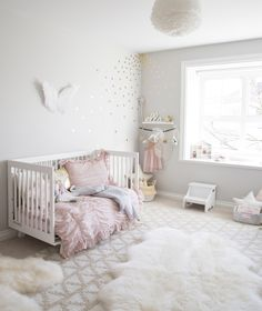 whimsical pink and gold toddler girl room