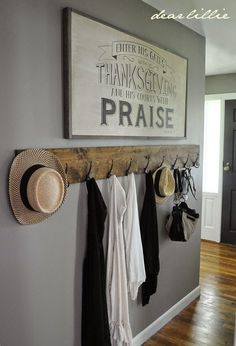 Jason's Full House Tour (Lots of Before and Afters) by Dear Lillie. I love this long and rustic coat rack! Would be perfect in a farmhouse entryway or near a mudroom. Dear Lillie, Diy Casa, Mudroom, Home Projects, Farmhouse Decor, Farmhouse Bench, Diy Home Decor, Decor Room, Nursery Decor