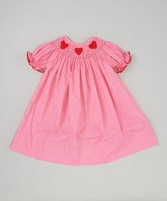 Look what I found on #zulily! Hot Pink Polka Dot Heart Smocked Bishop Dress - Infant & Toddler #zulilyfinds