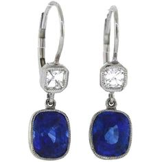 Preowned Cushion Sapphire Diamond Platinum Drop Earrings ($8,900) ❤ liked on Polyvore featuring jewelry, earrings, blue, diamond drop earrings, blue diamond earrings, 18k diamond earrings, blue earrings and blue sapphire earrings