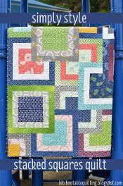 Simply Stacked Squares Quilt - looks simply and leftover squares make a great back but uses lots of fabric - two jelly rolls and a layer cake. Need to read more and see if it actually uses two entire jelly rolls or just parts. I'll make this one for sure.