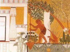 Tomb painting depicting a gardener using a Shaduf. Tomb of the Royal Sculptor Ipuy, Deir el-Medina. TT217. Dynasty 19, reign of Rameses II, 1279-1213 BCE.