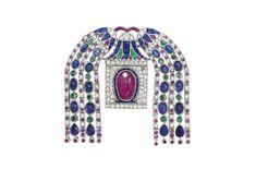 A Fine Art Deco Diamond and Gem-set Brooch, by Cartier