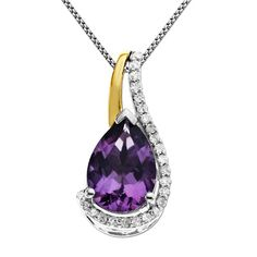 Pear-Shaped Amethyst and 1/10 CT. T.W. Diamond Pendant in Sterling Silver and 14K Gold Plate - Zales