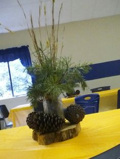 Outdoor hunting themed table decor centerpiece