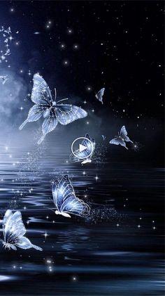 by Unknown Artist Midnight Butterfly Wallpaper.by Unknown Artist. Dragonfly Wallpaper, Blue Butterfly Wallpaper, Flower Phone Wallpaper, Cute Wallpaper Backgrounds, Butterfly Art, Love Wallpaper, Cellphone Wallpaper, Pretty Wallpapers, Colorful Wallpaper